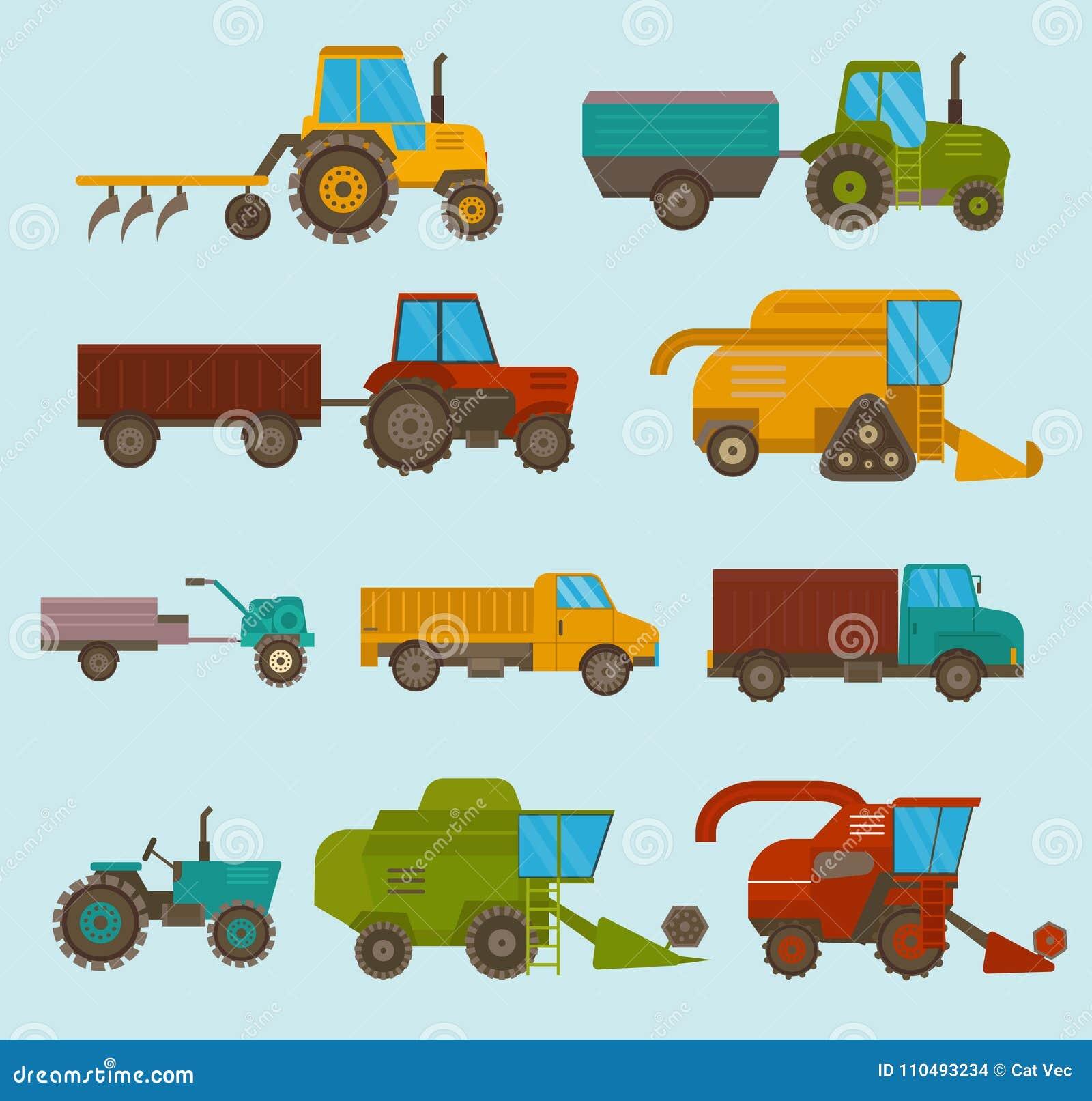 Różni typ wektorowi rolniczy pojazdy, żniwiarz maszyna, syndykaty i ekskawatory, Ikony ustalony rolniczy