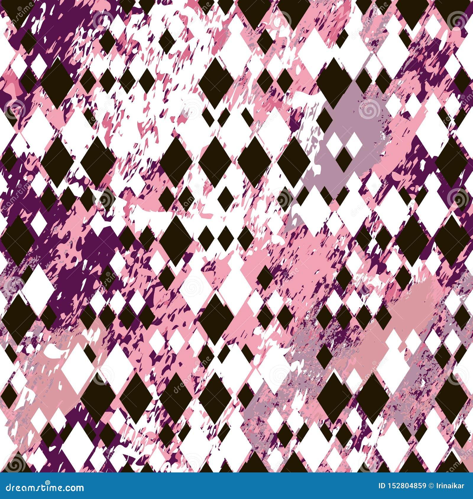 Różni wielkościowi czarny i biały rhombuses na menchia marmurze textured tło