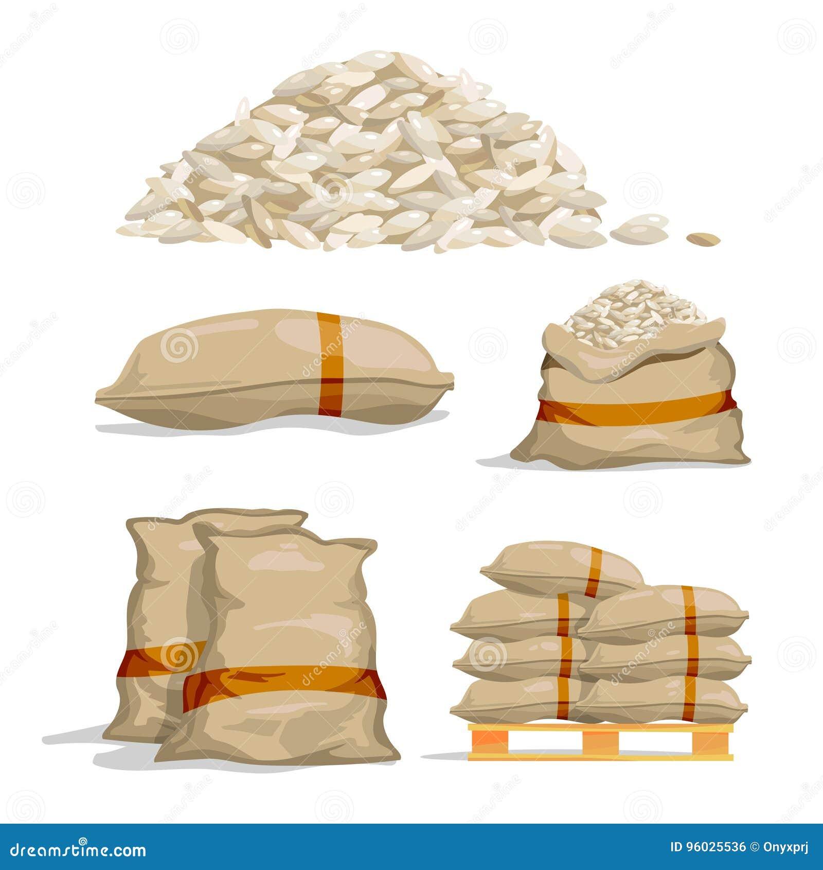Różni worki biali ryż Karmowe składowe wektorowe ilustracje