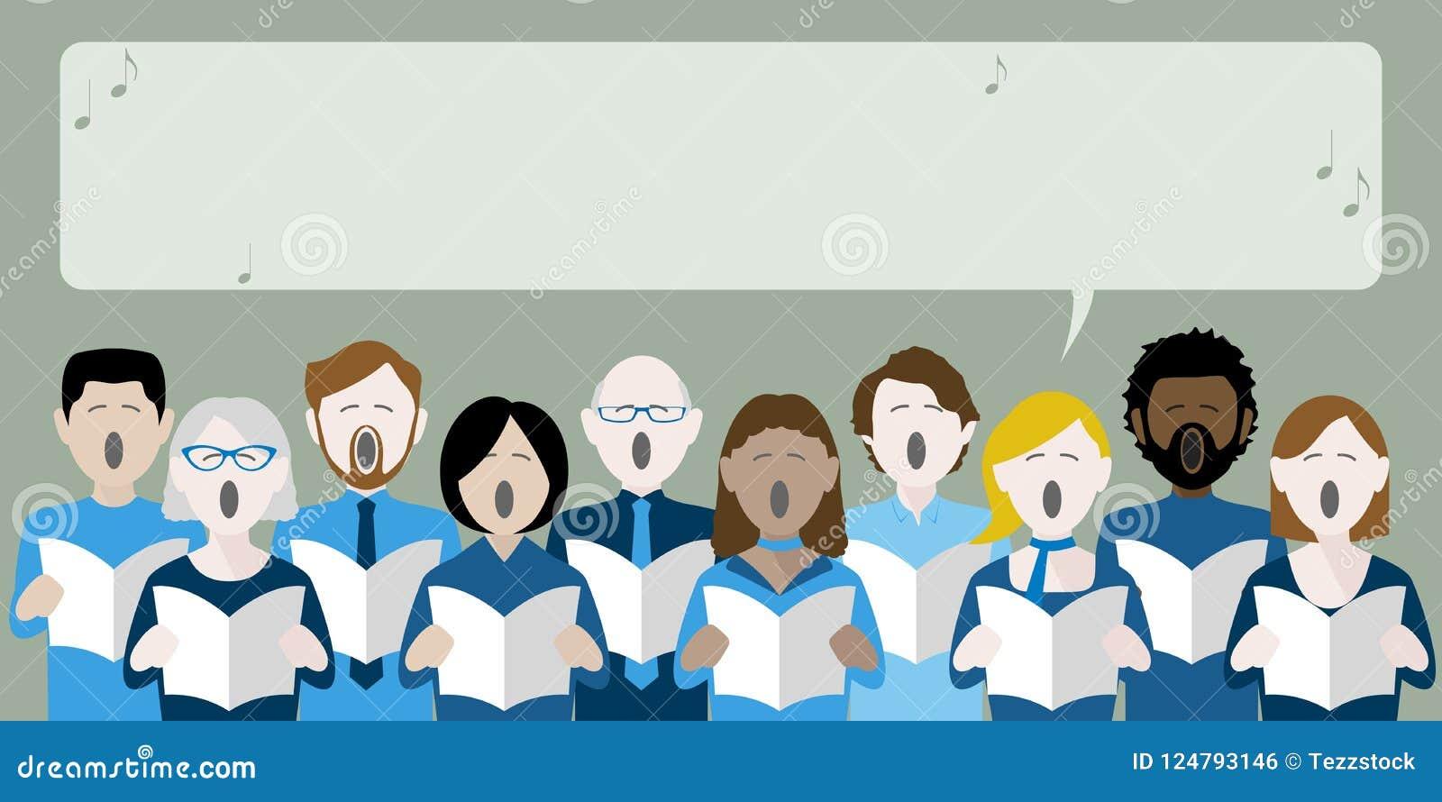 Różnorodna grupa dorosłego choru śpiew