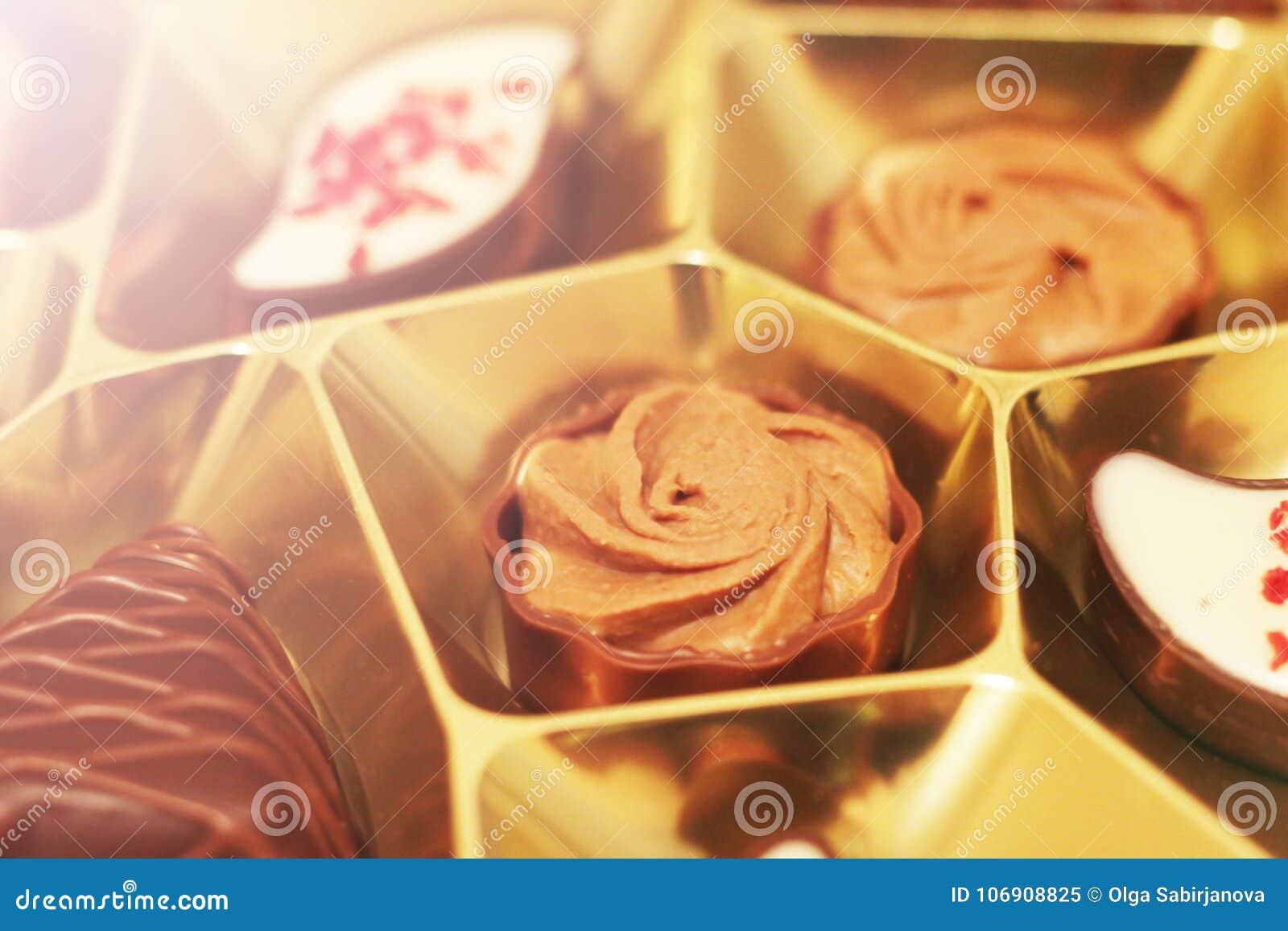 Różnorodni czekoladowi pralines, piękny słodki jedzenie