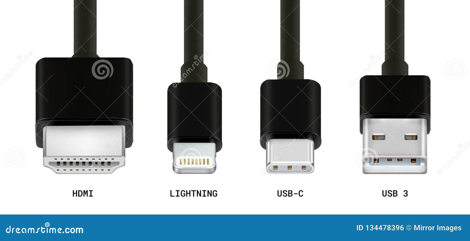 Różnorodni kablowi włączniki, HDMi, USB 3, USB, błyskawica