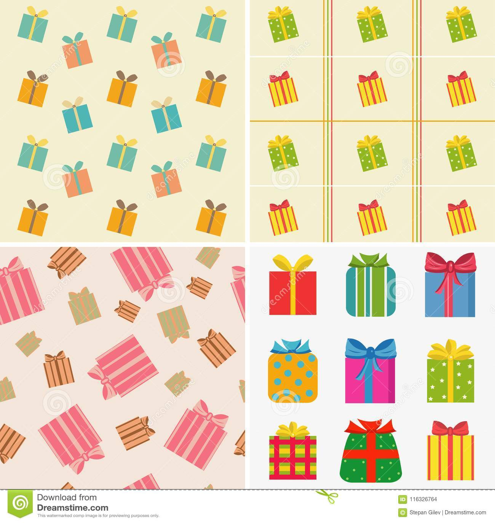 Różnorodni kolorowi prezenty