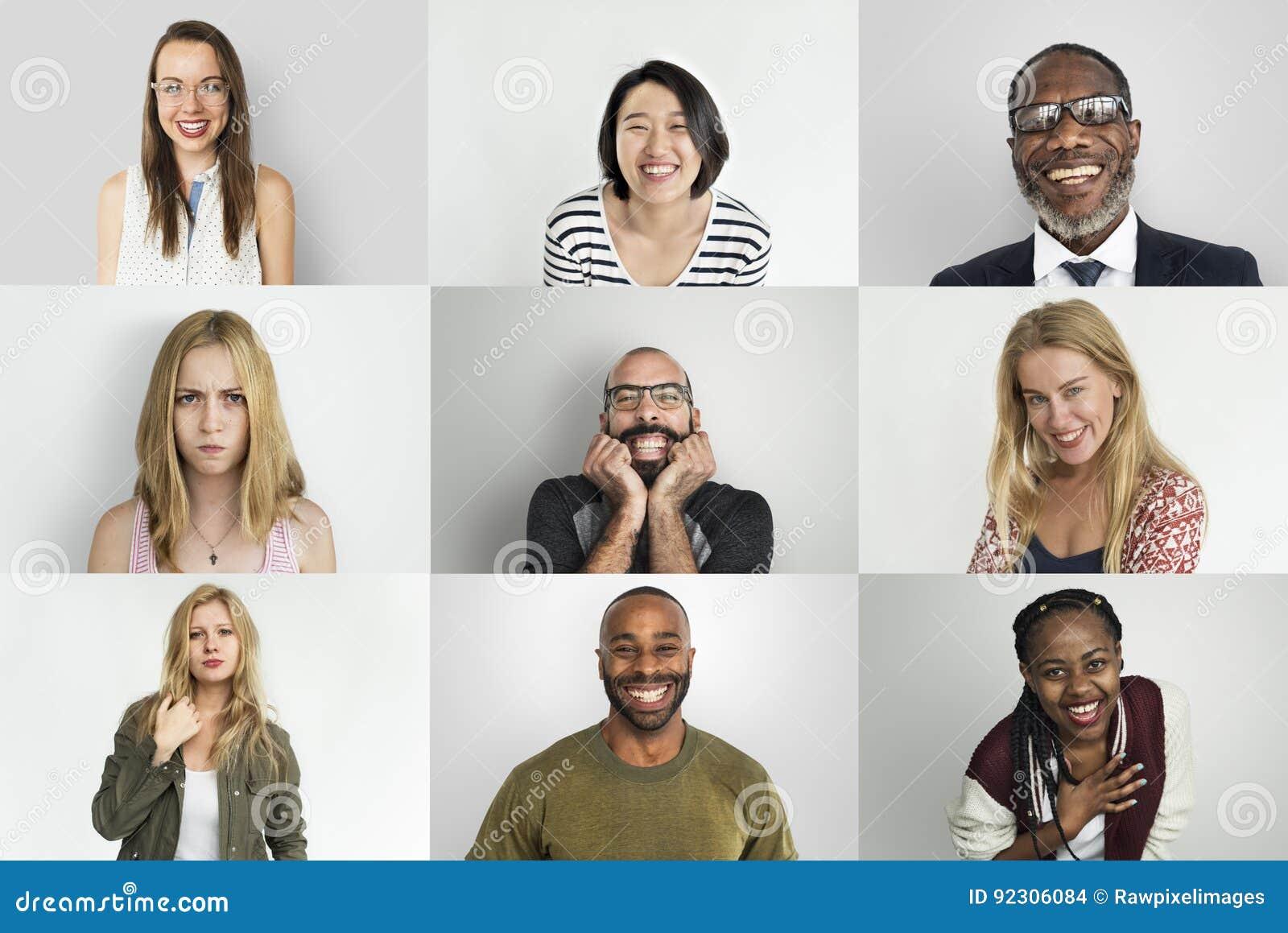 Różnorodni ludzie Uśmiecha się szczęścia Rozochoconego pojęcie