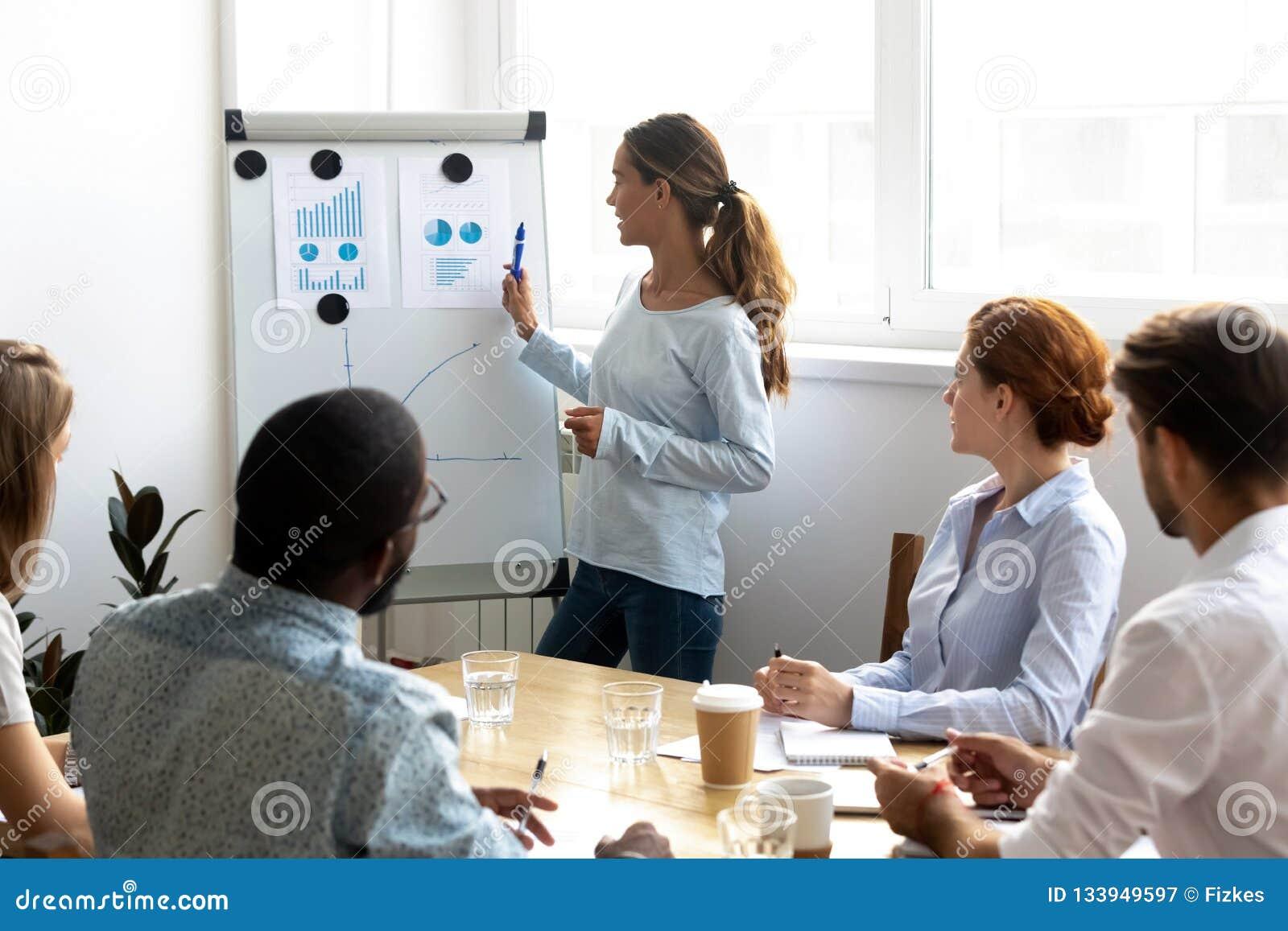 Różnorodni młodzi firma członkowie słucha prezentacje siedzi wewnątrz