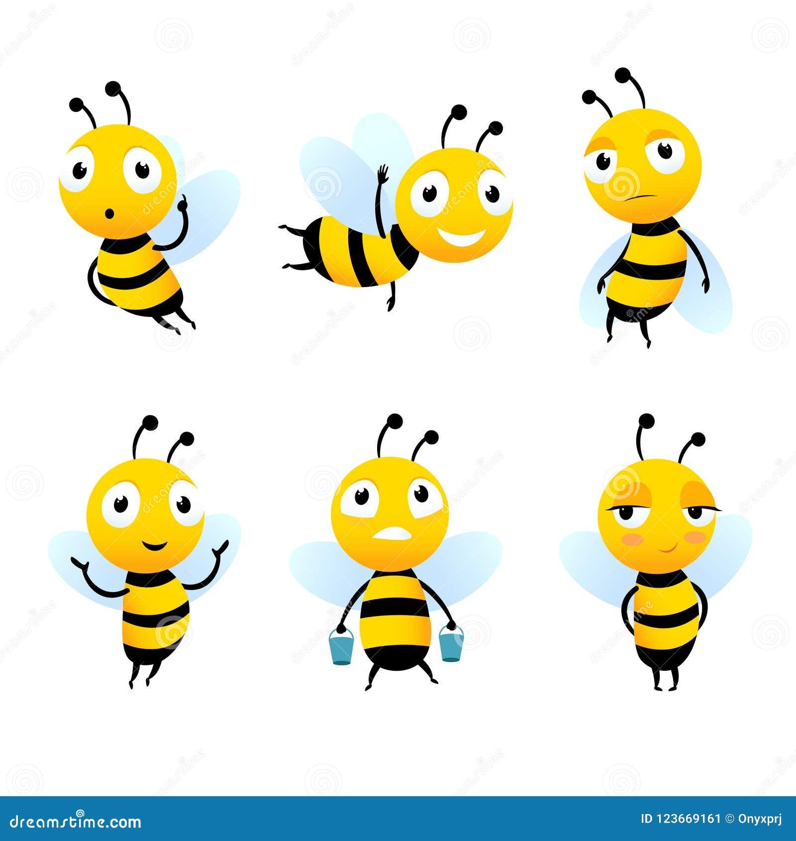 Różnorodni postać z kreskówki pszczoły z miodem