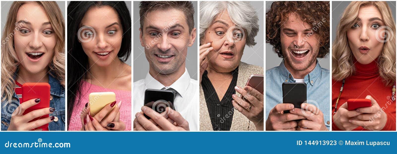 Różnorodni zdziweni ludzie z smartphones