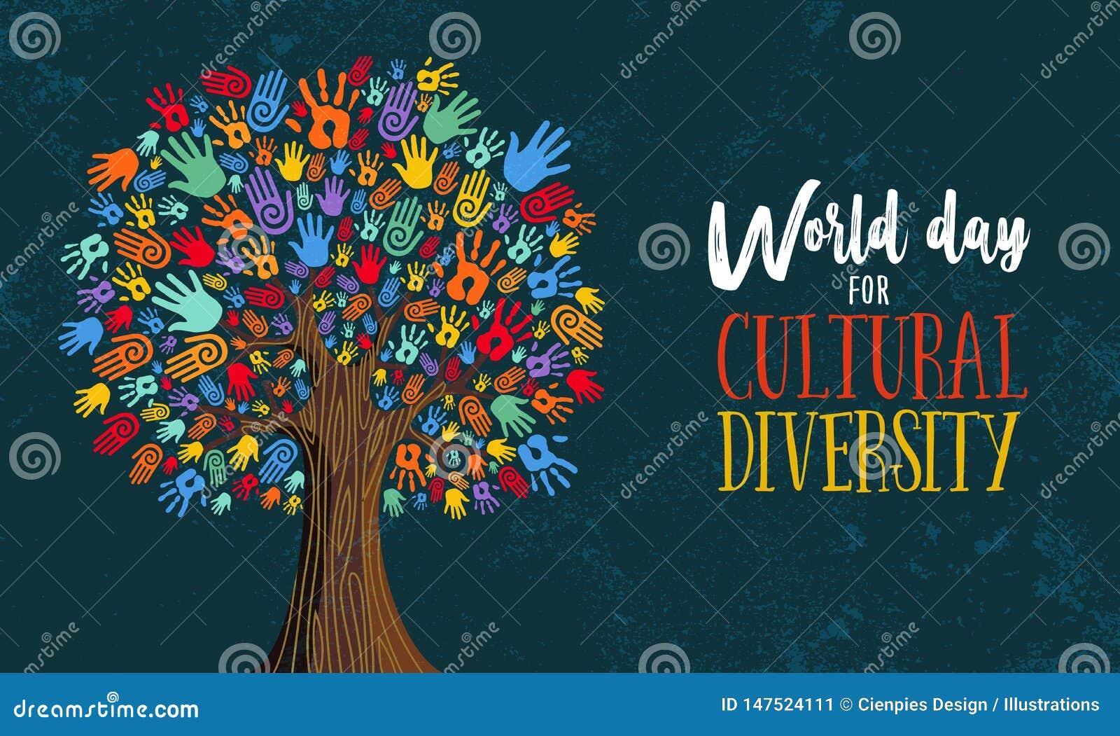 Różnorodność Kulturalna dnia ręki pojęcia drzewna ilustracja