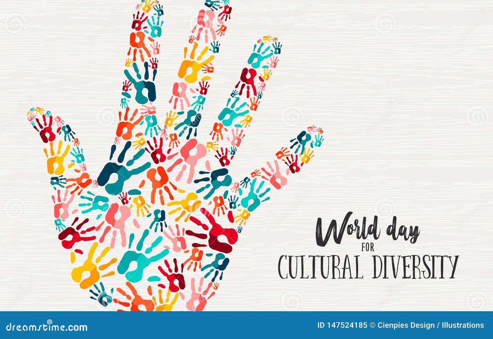 Różnorodność Kulturalna dnia ręki pojęcia różnorodna karta