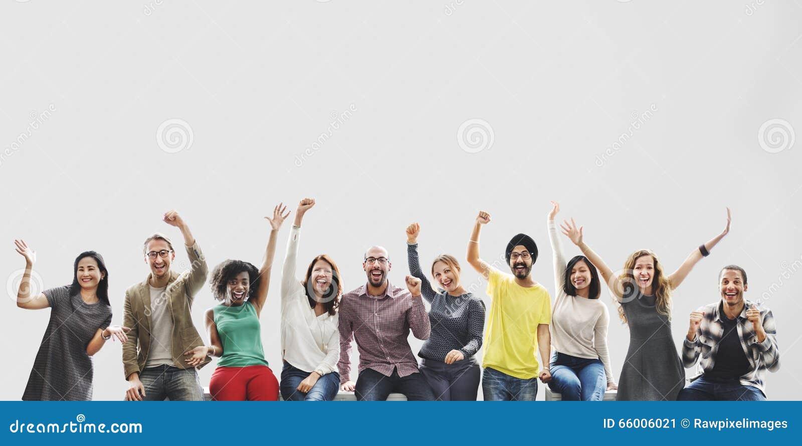 Różnorodność przyjaciół osiągnięcia sukcesu celów Drużynowy pojęcie