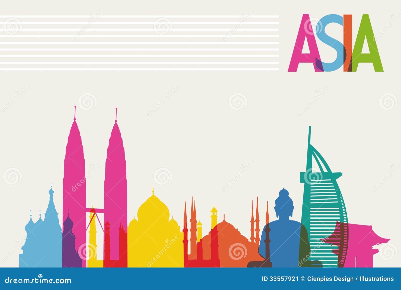 Różnorodność zabytki Azja, sławny punktu zwrotnego kolor