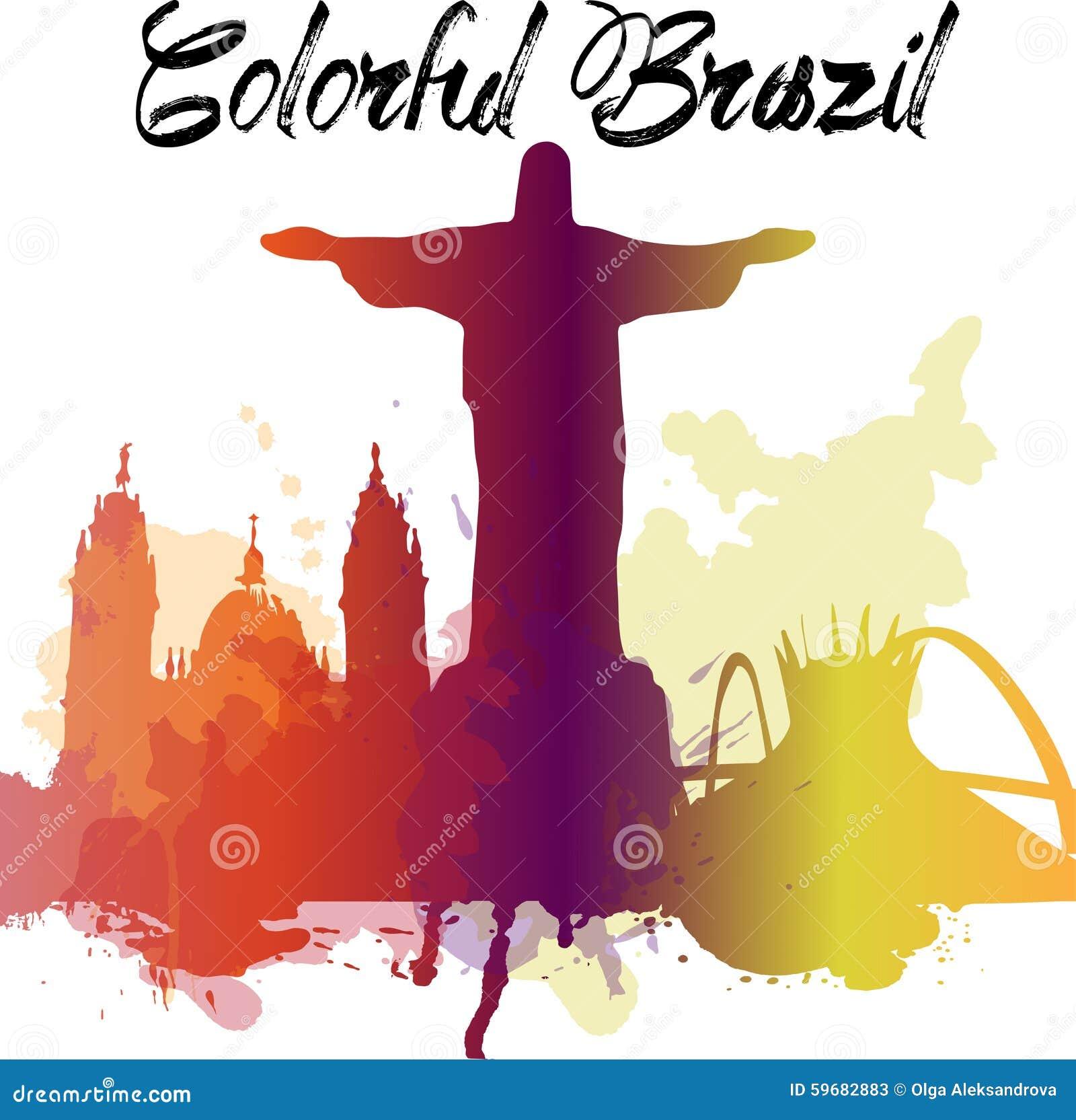 Różnorodność zabytki Brazylia, sławna linia horyzontu barwią przezroczystość EPS10 wektor organizujący w warstwach dla łatwego ed
