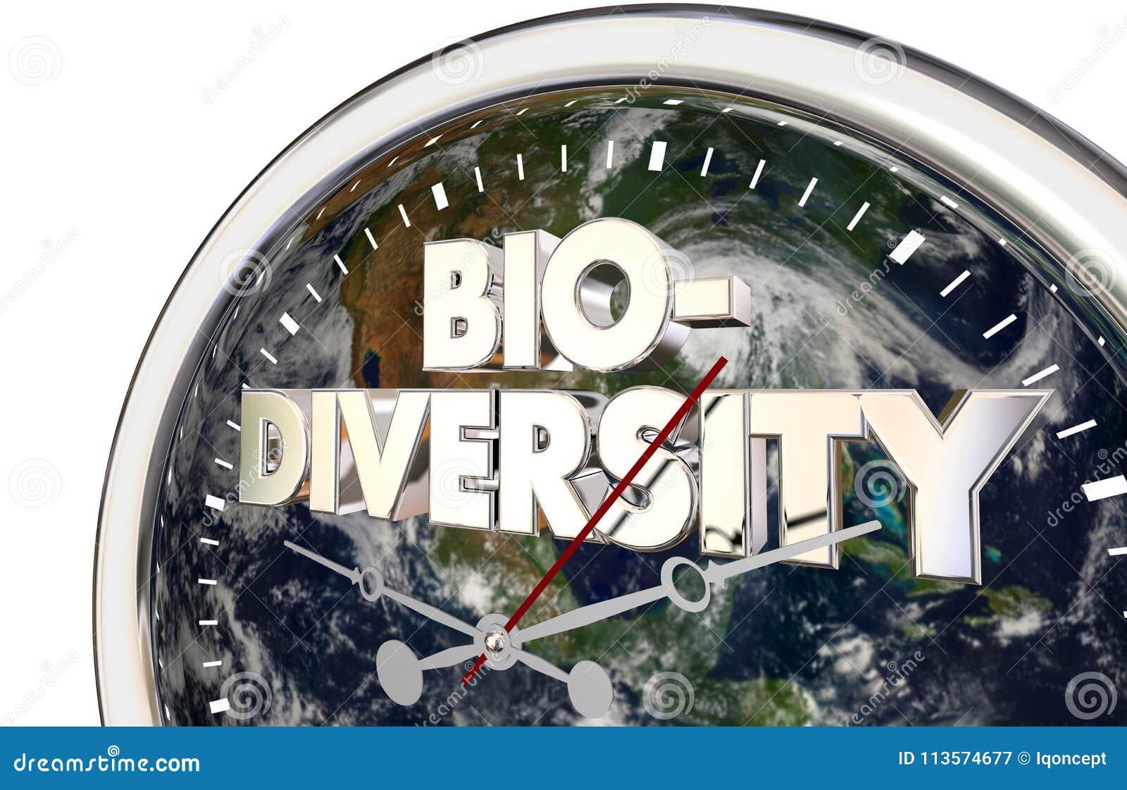 Różnorodności biologicznej planety ziemi Zegarowego czasu 3d Światowa ilustracja
