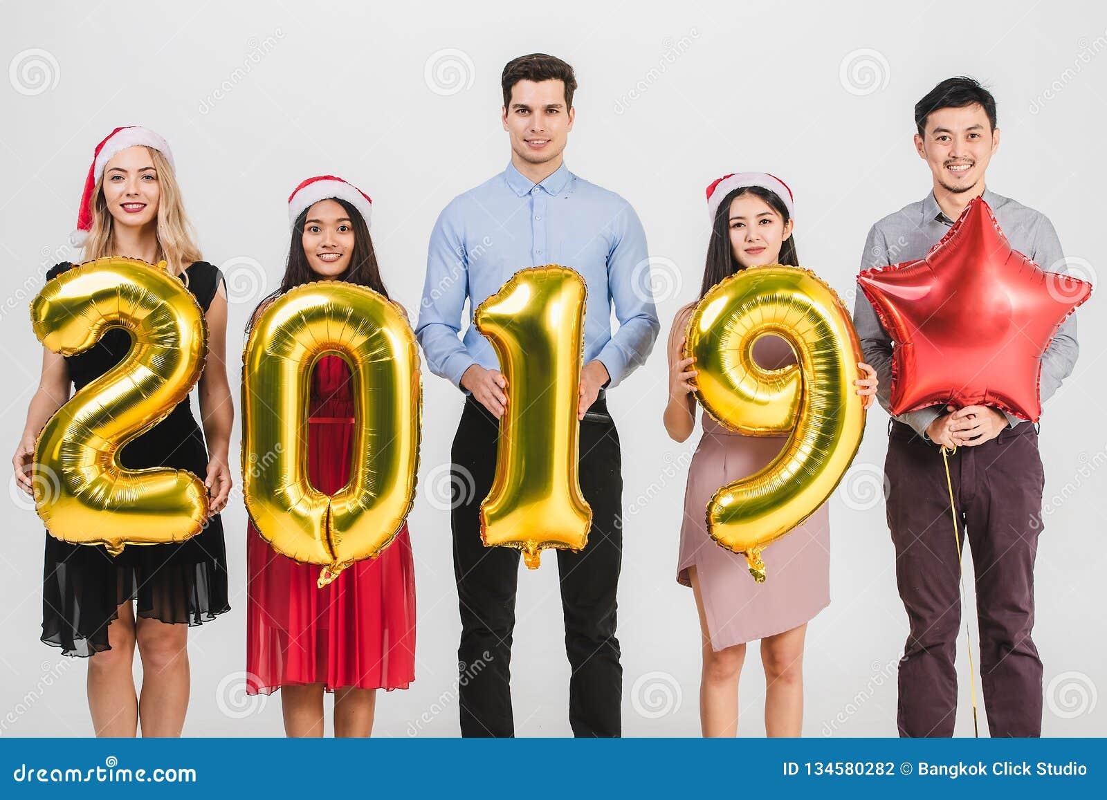 Różnorodności celabrate nowego roku 2019 ludzie