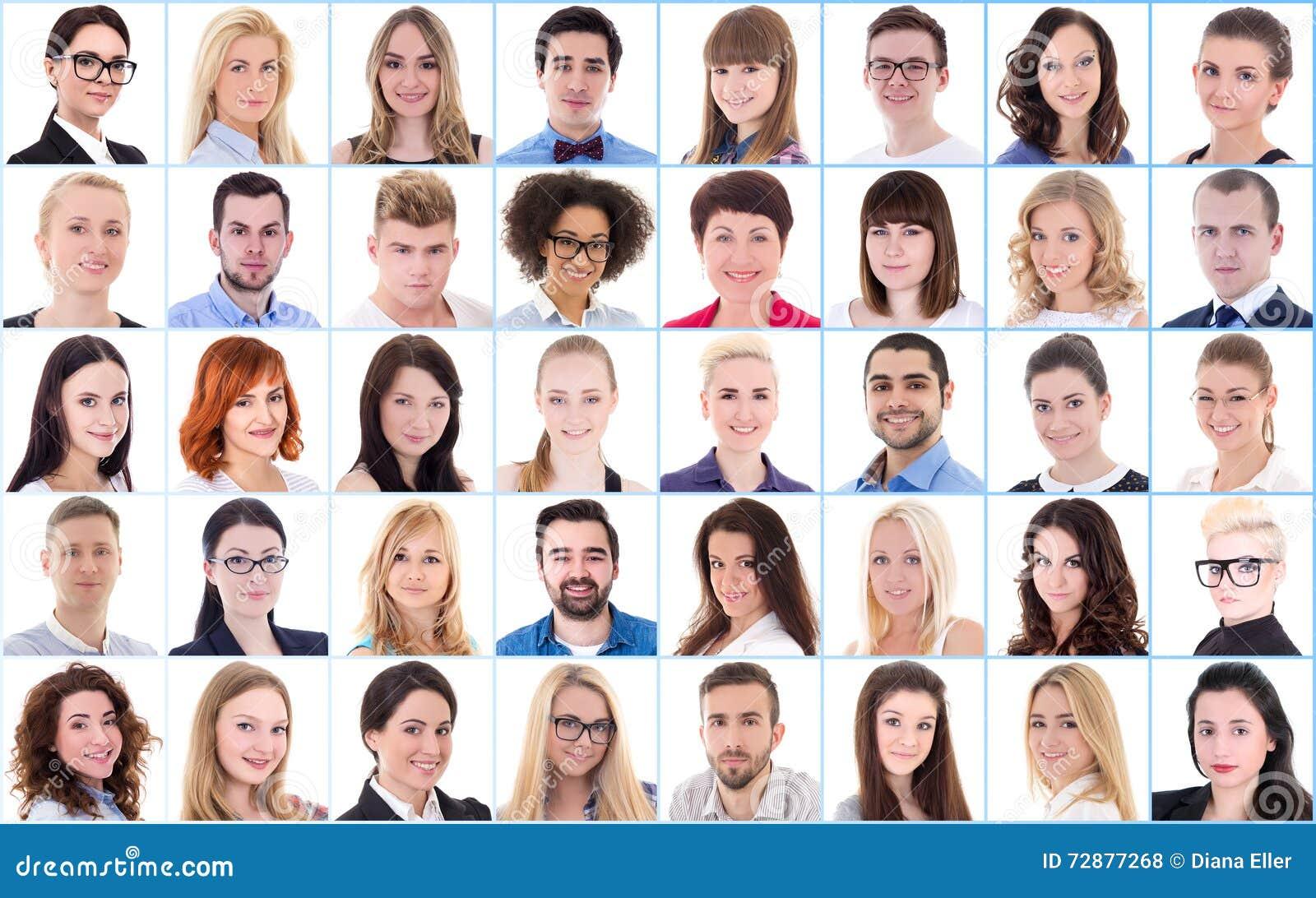 Różnorodności pojęcie - kolaż z wiele ludźmi biznesu portretów