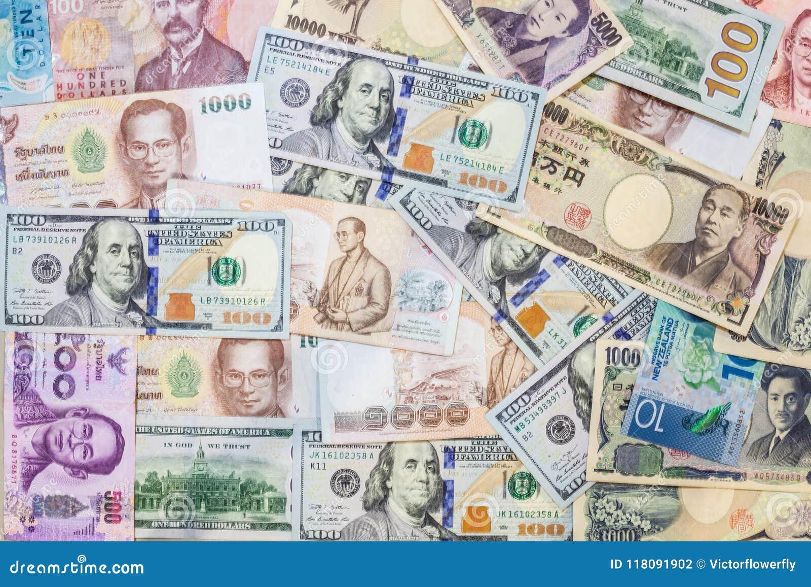 Różnorodny międzynarodowy obca waluta banknotów tło Handel międzynarodowy, pieniądze graniczny pojęcie