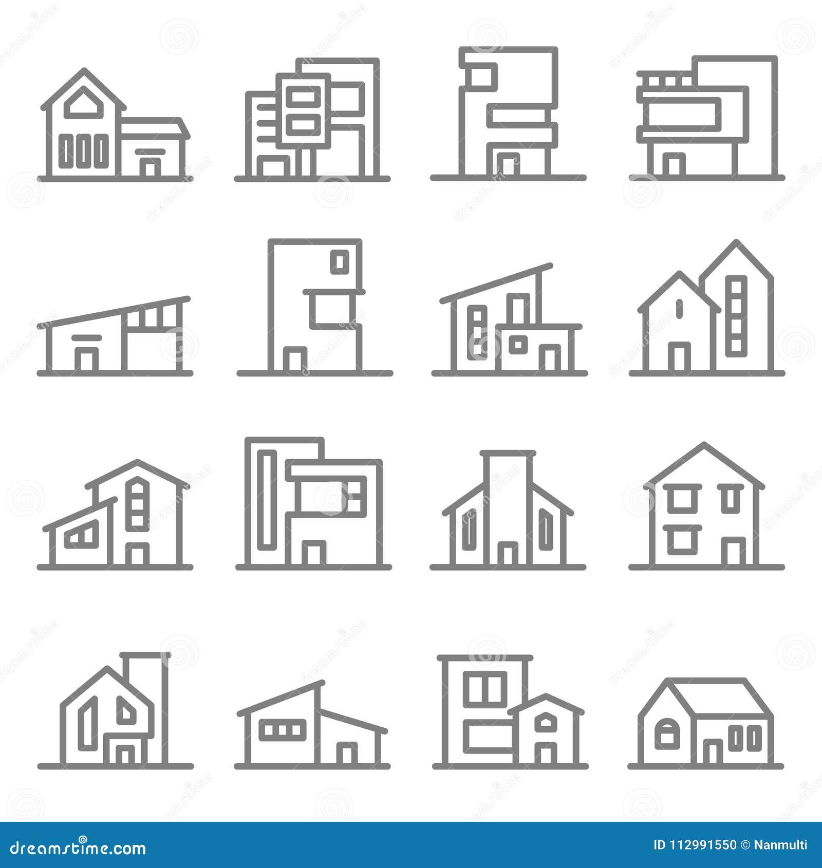 Różnorodny Real Estate budynków wektoru linii ikony Majątkowy Nowożytny Stylowy set