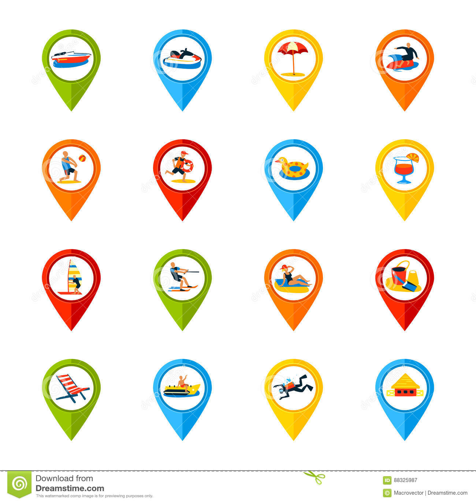 Różnorodnych lokacja znaków Kolorowe ikony Ustawiać