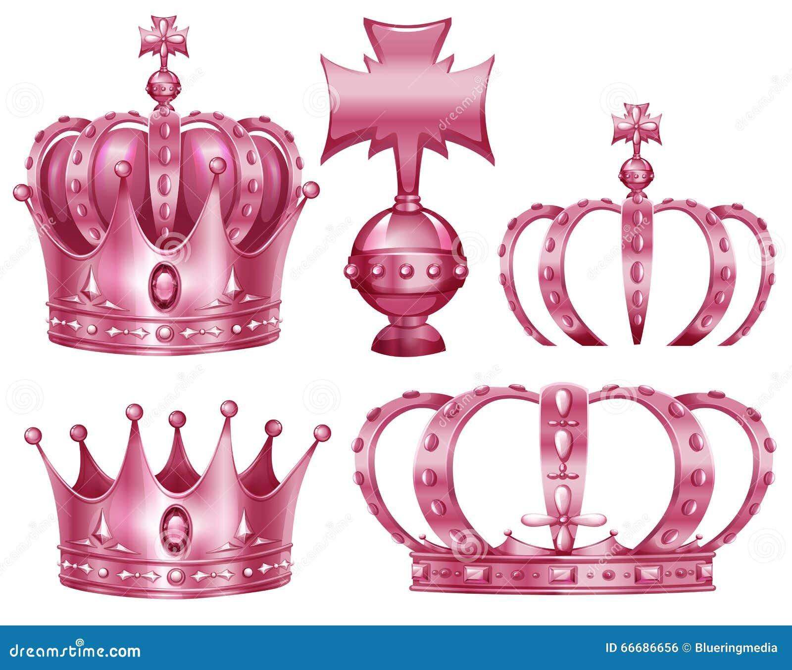 Różny projekt korony w menchia kolorze