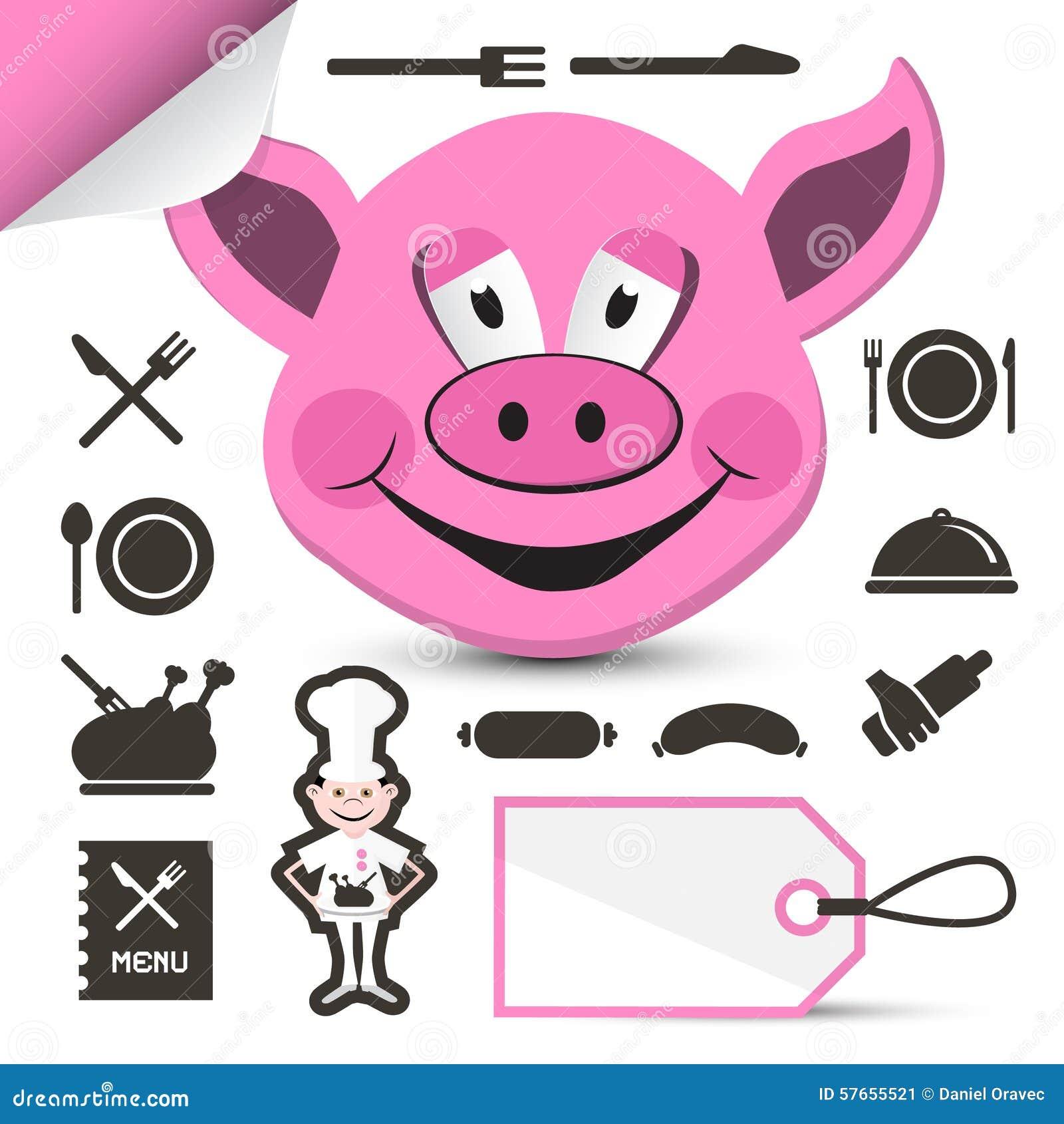 Różowa świni głowa - szefa kuchni i restauraci menu ikony Ustawiać