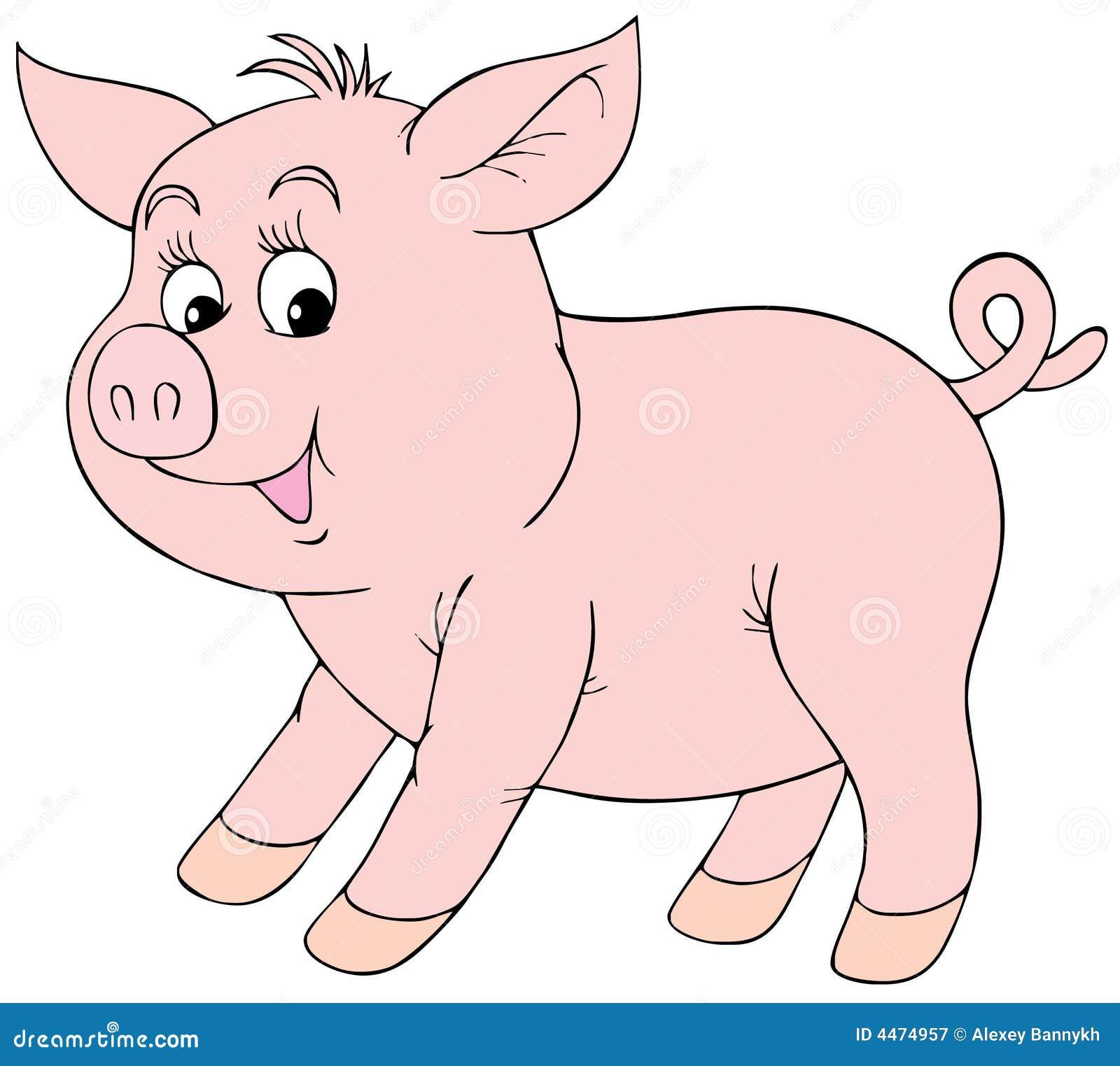 Różowa świnka ilustracja wektor. Ilustracja złożonej z kolor - 4474957