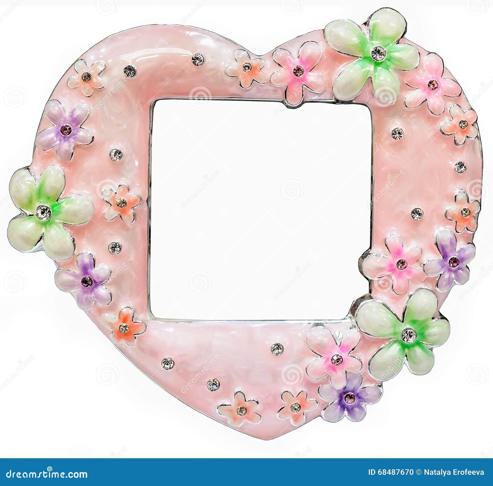 Różowa fotografii rama wykładająca z rhinestones w formie serce