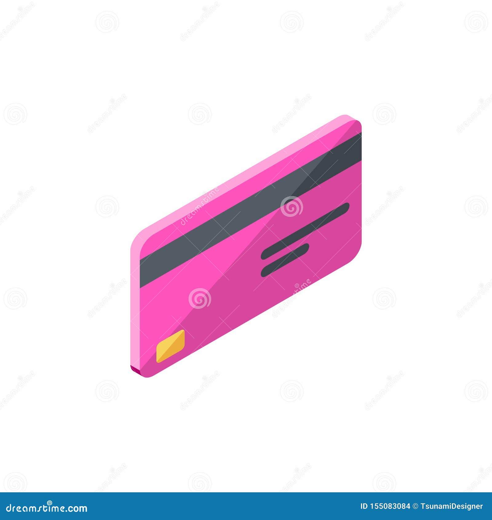Różowa karta kredytowa Biznesowa, Isometric, Finansowy, bank karta, wektor