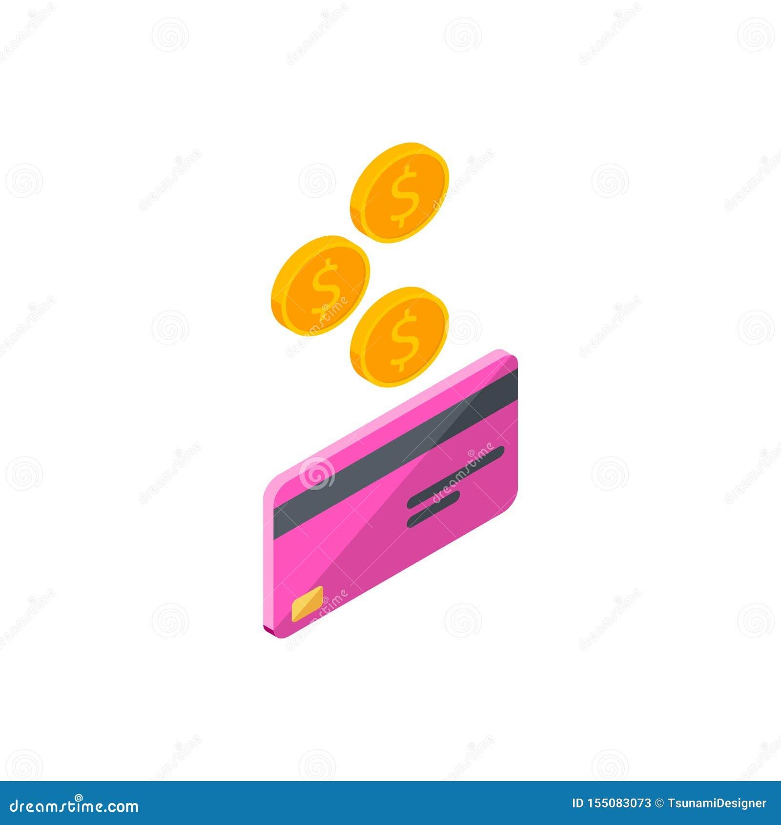 Różowa karta kredytowa, Zarabia pieniądze, Isometric, moneta, finanse, bank karta, biznes, wektor, gotówka dostaje bank kartę
