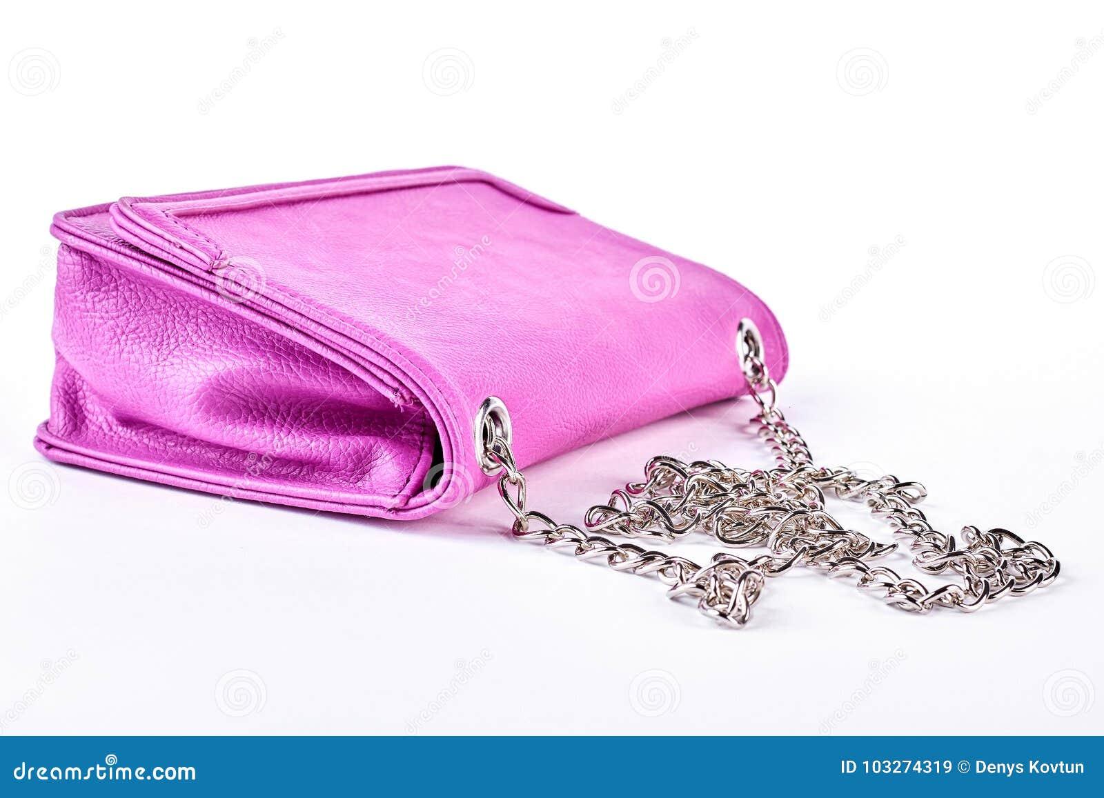 Różowa rzemienna torba z łańcuchem