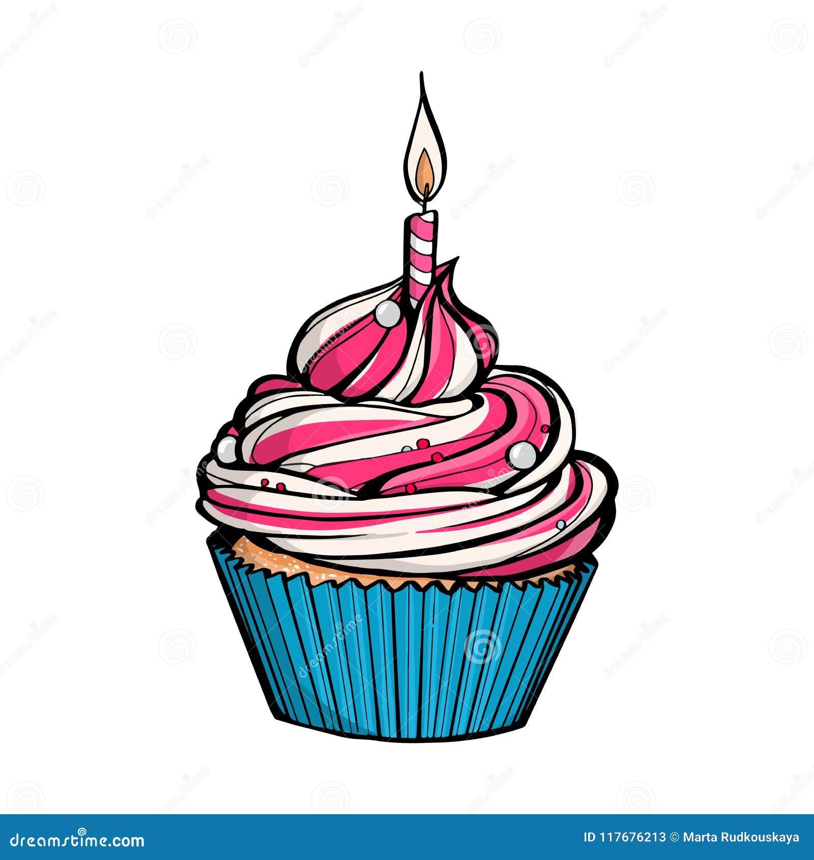 Różowa urodzinowa babeczka z płonącą świeczką