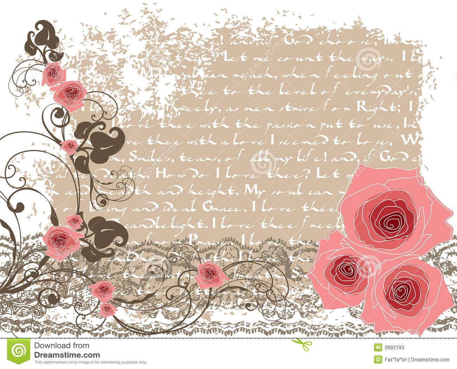 Różowe Róże Sweet Rocznego Wiersz Ilustracja Wektor