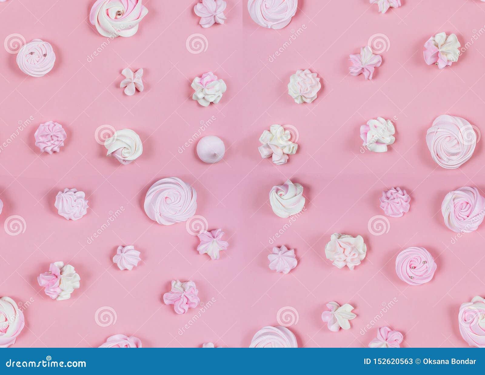 Różowego cukierki wzoru przyjęcia urodzinowego Pastelowy mieszkanie Lay
