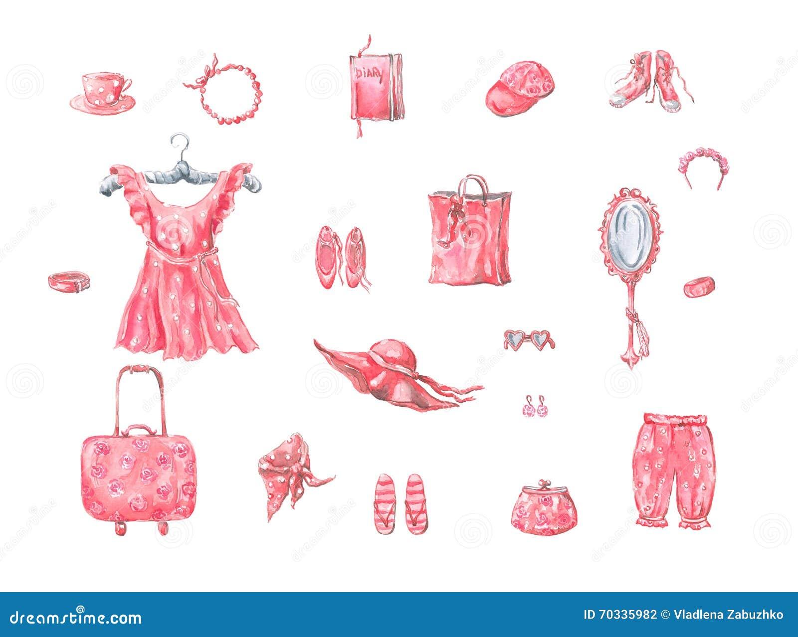 Różowi sukni i dam akcesoria