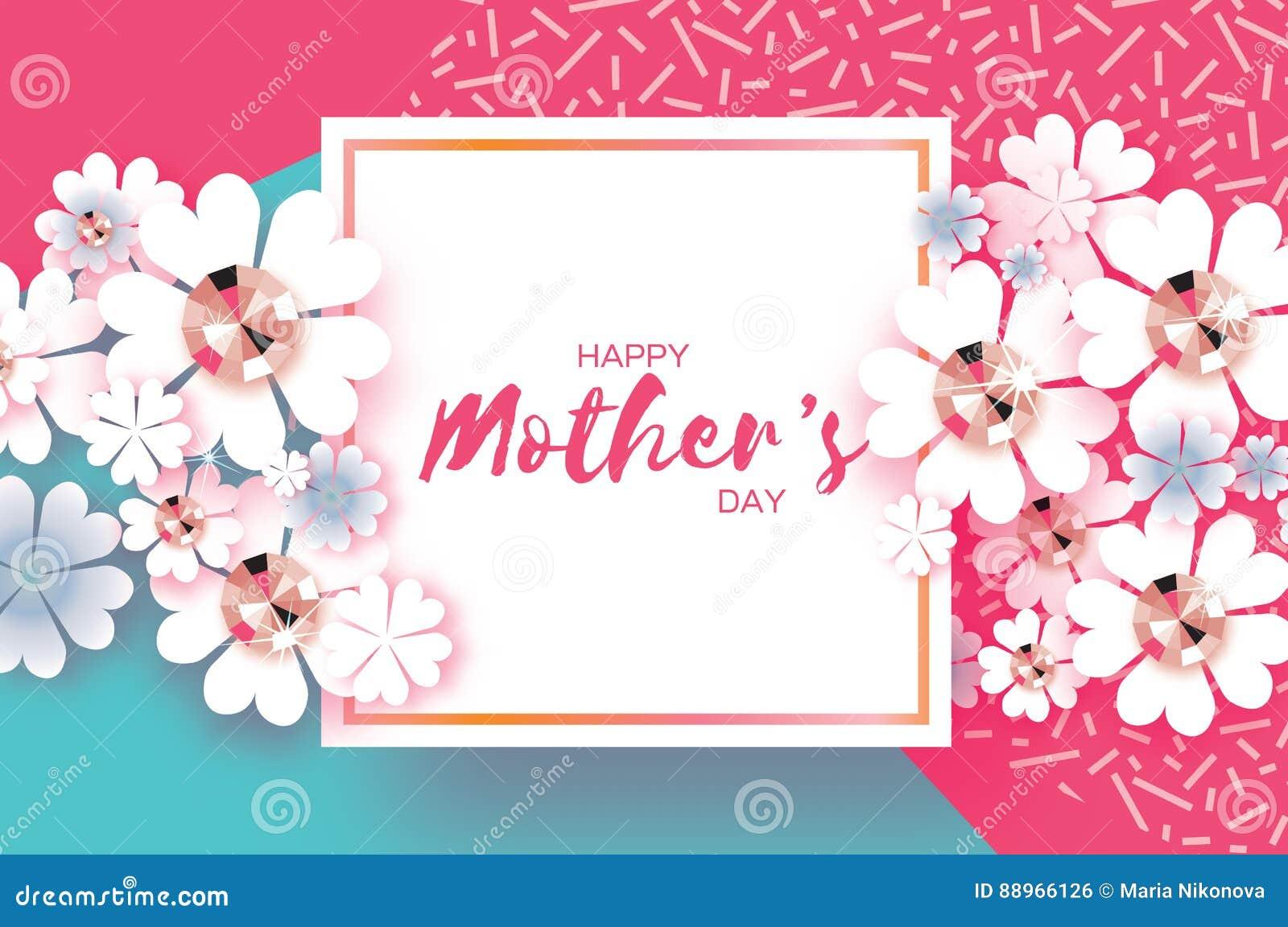 Różowy Błękitny Szczęśliwy matka dzień Genialni kamienie Papieru rżnięty kwiat Kwadratowa rama