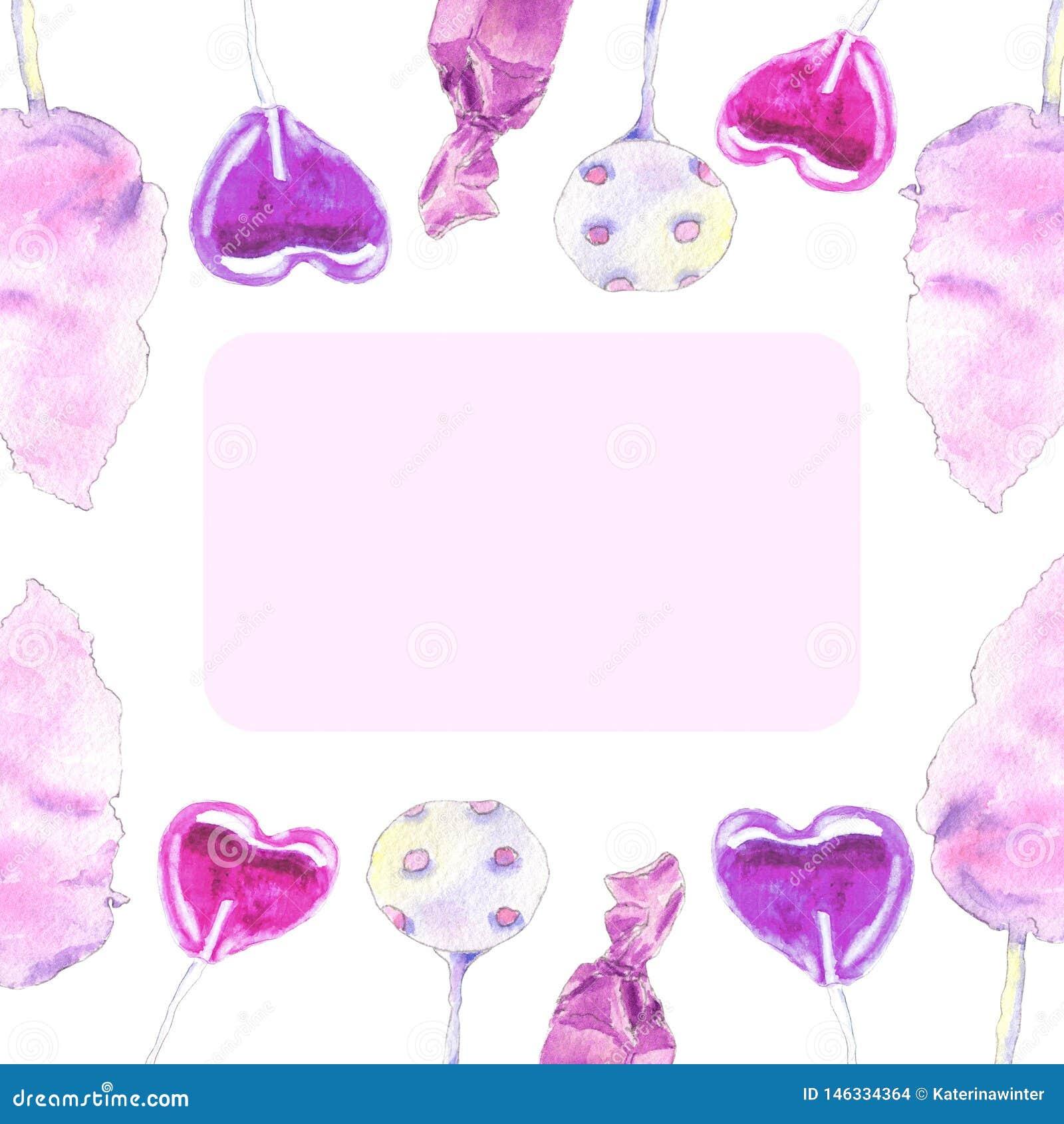 Różowy cukierki zaproszenie