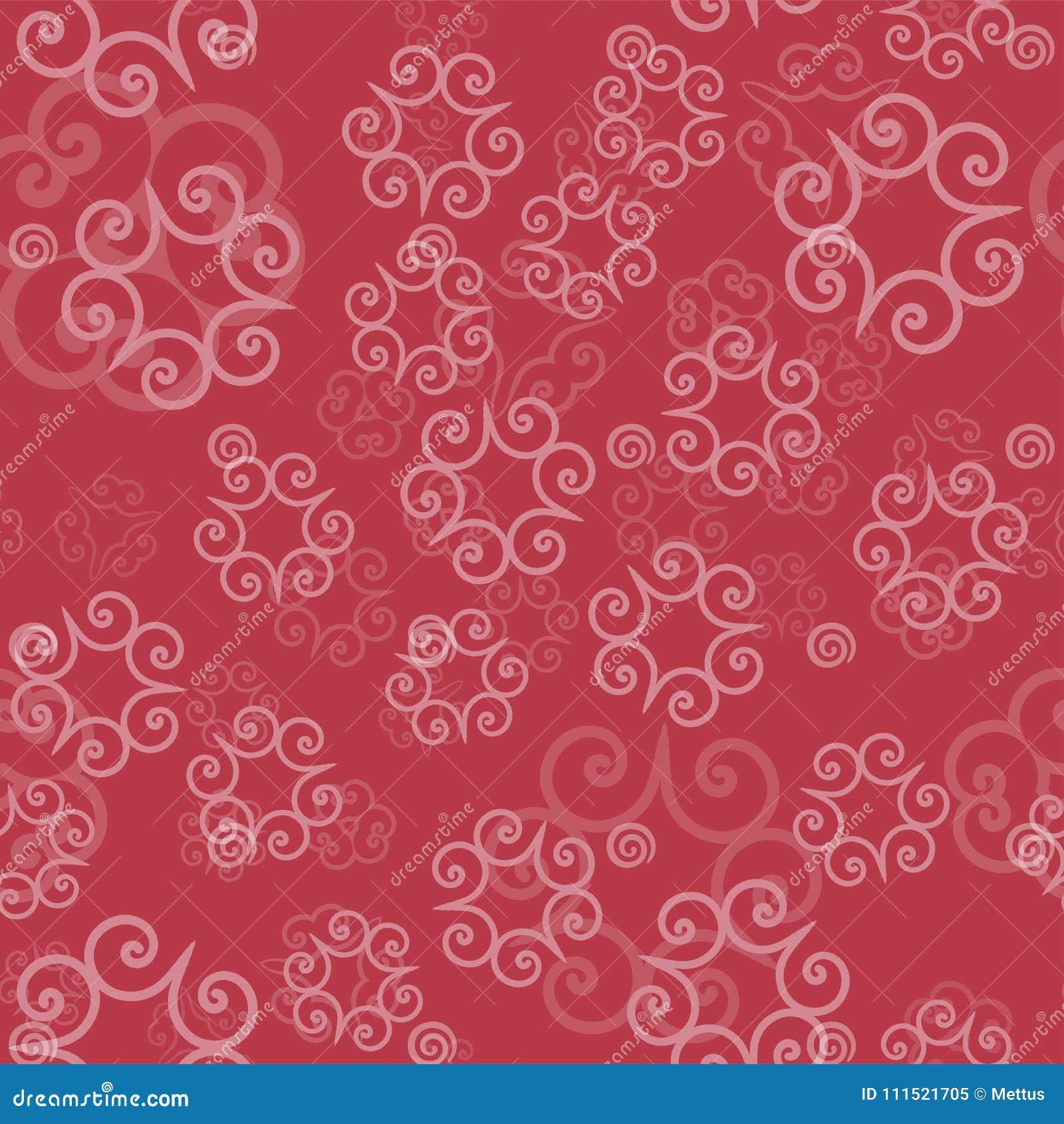 Różowy koloru ornament mandalas na lekkim czerwonym tle Szablon dla orientalnego opakunkowego papieru, chusty, tkaniny