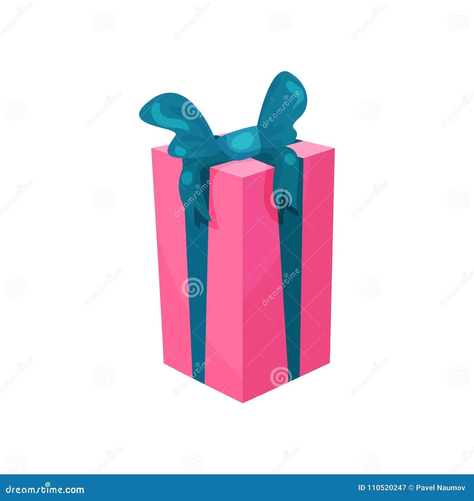 Różowy prezenta pudełko z dużym błękitnym łękiem Teraźniejszość dla urodziny Kreskówki ikona w nowożytnym mieszkanie stylu Sprzed