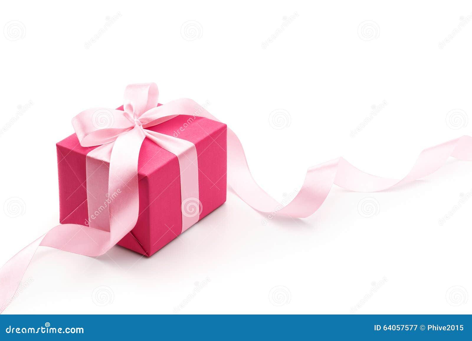 Różowy prezenta pudełko z faborkiem