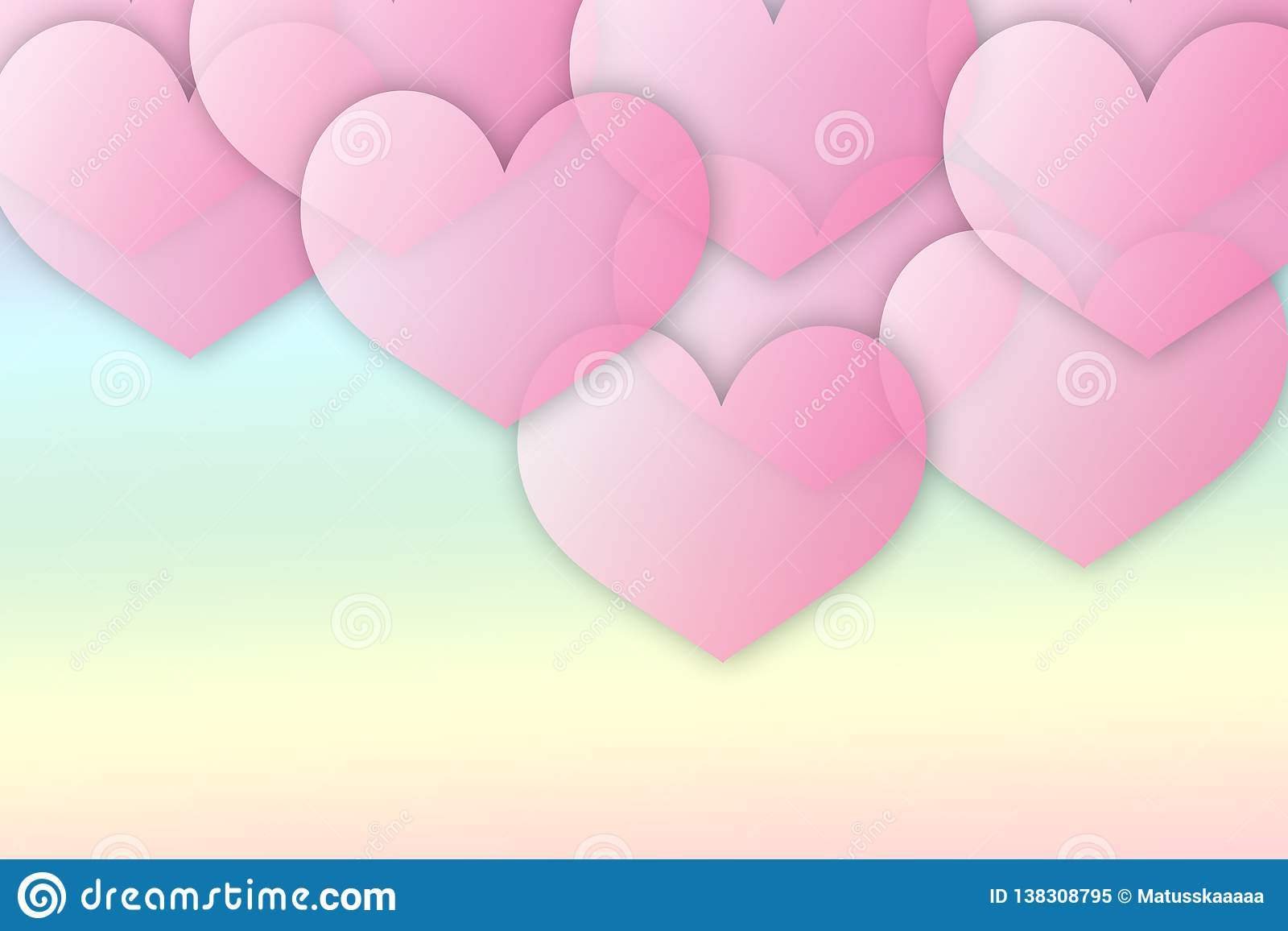 Różowy przejrzysty serca tło - ilustracja