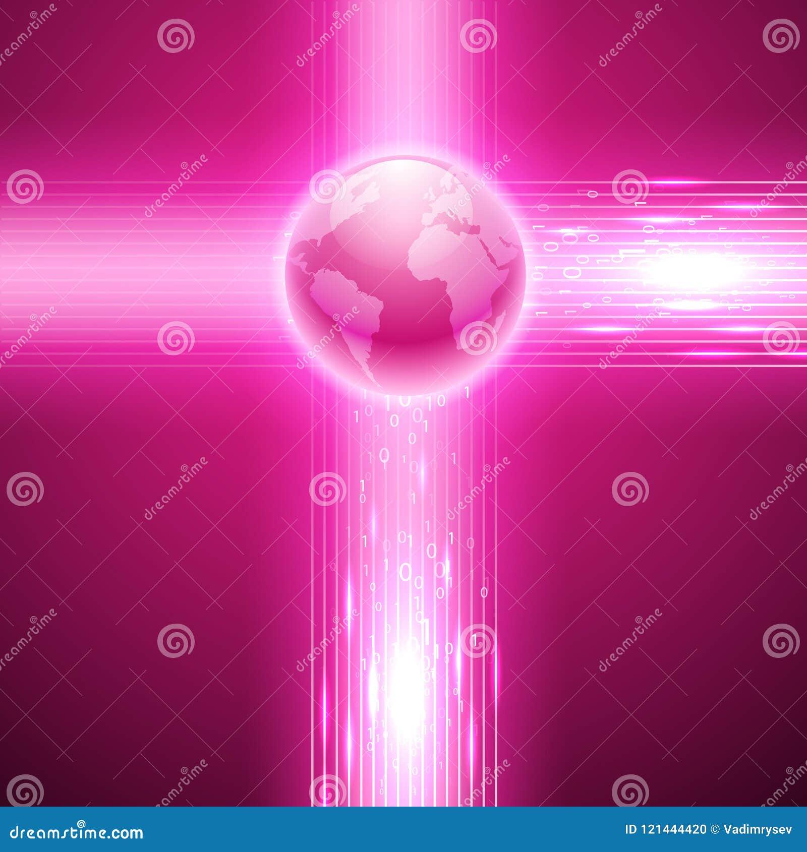 Różowy tło z binarnym kodem kula ziemska