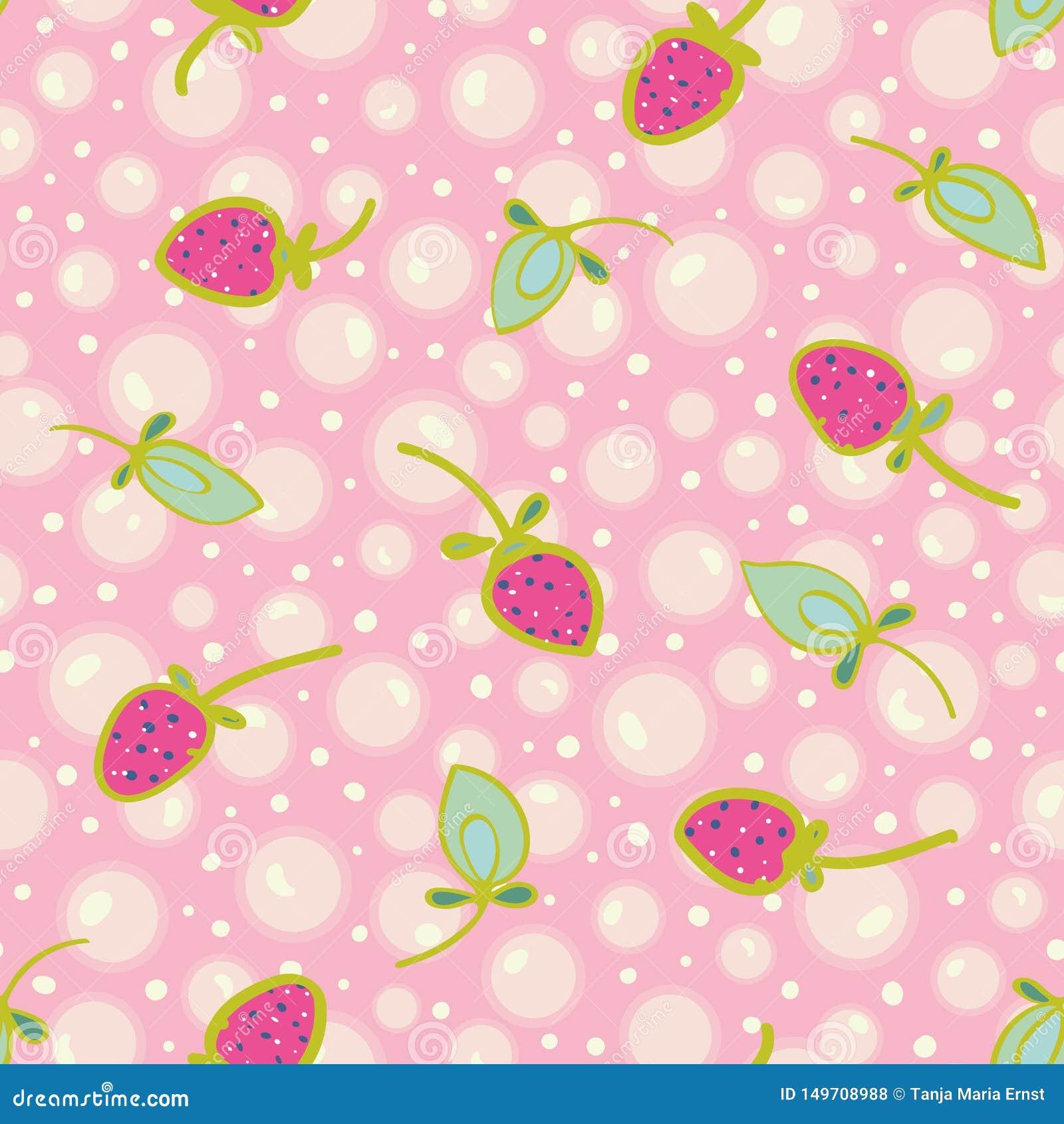 Różowy wzór z bąblem i truskawką