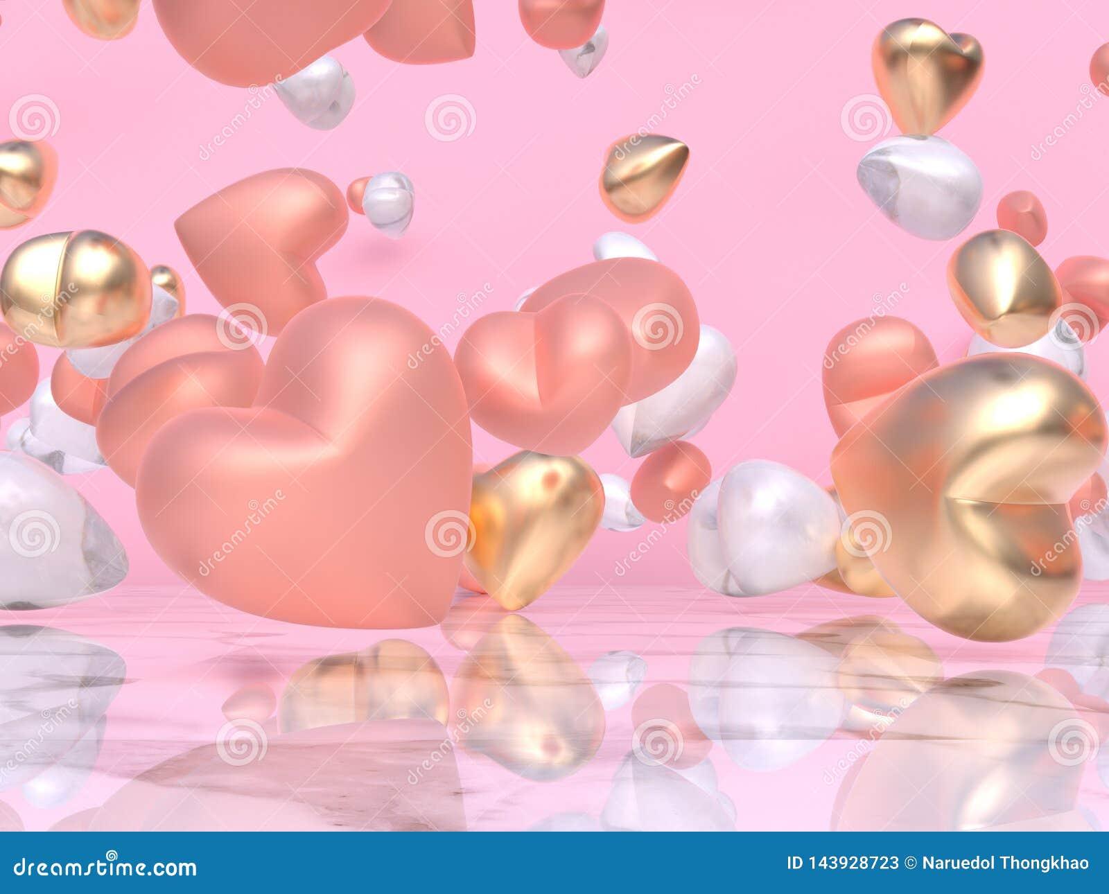 Różowy złocisty serca 3d rendering