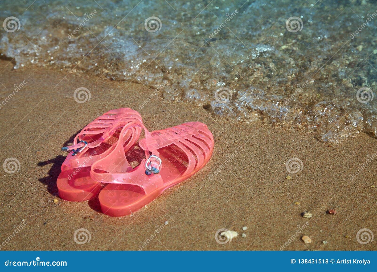 Różowych kobiet GALARETOWI sandały na dennym brzeg DAM galaret lata plaży PŁASCY buty