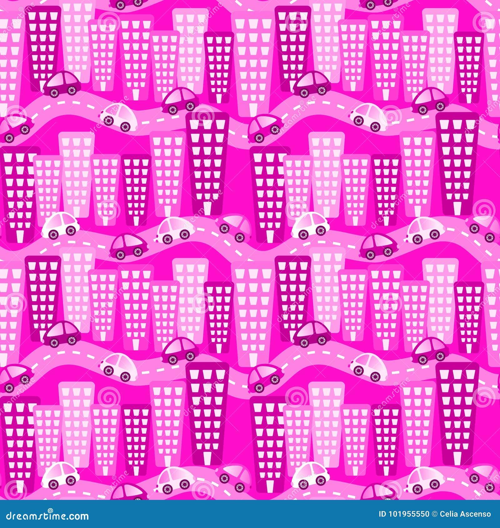 Różowych miasto samochodów Bezszwowy wzór