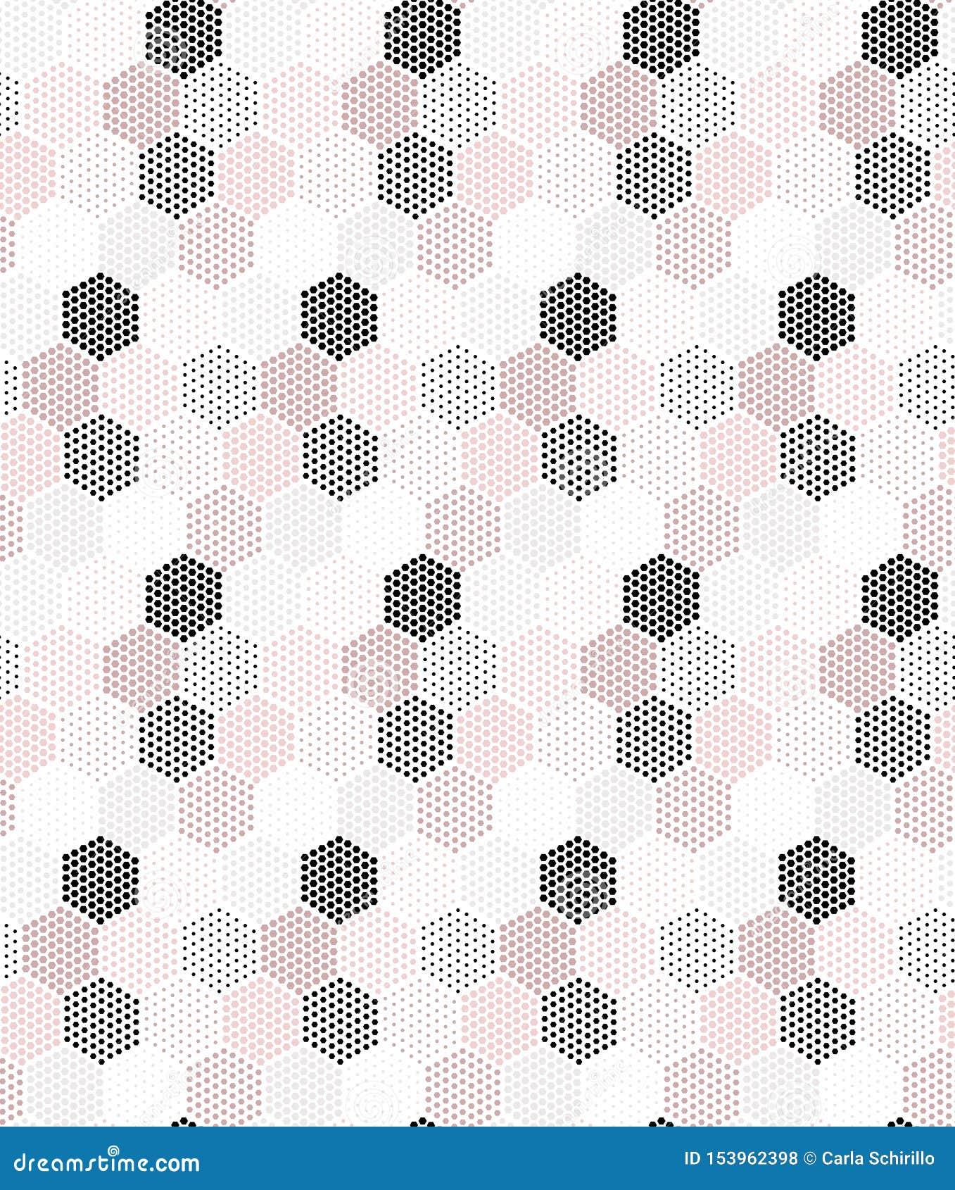 Różowych, popielatych i czarnych sześciokątów powtórki wektorowy bezszwowy wzór,
