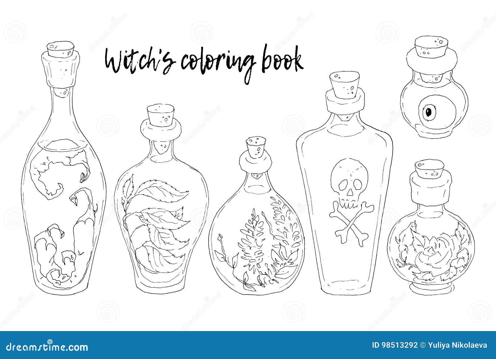 Również zwrócić corel ilustracji wektora halloween Czarownica kocioł, czaszka, liście, bania, ono rozrasta się