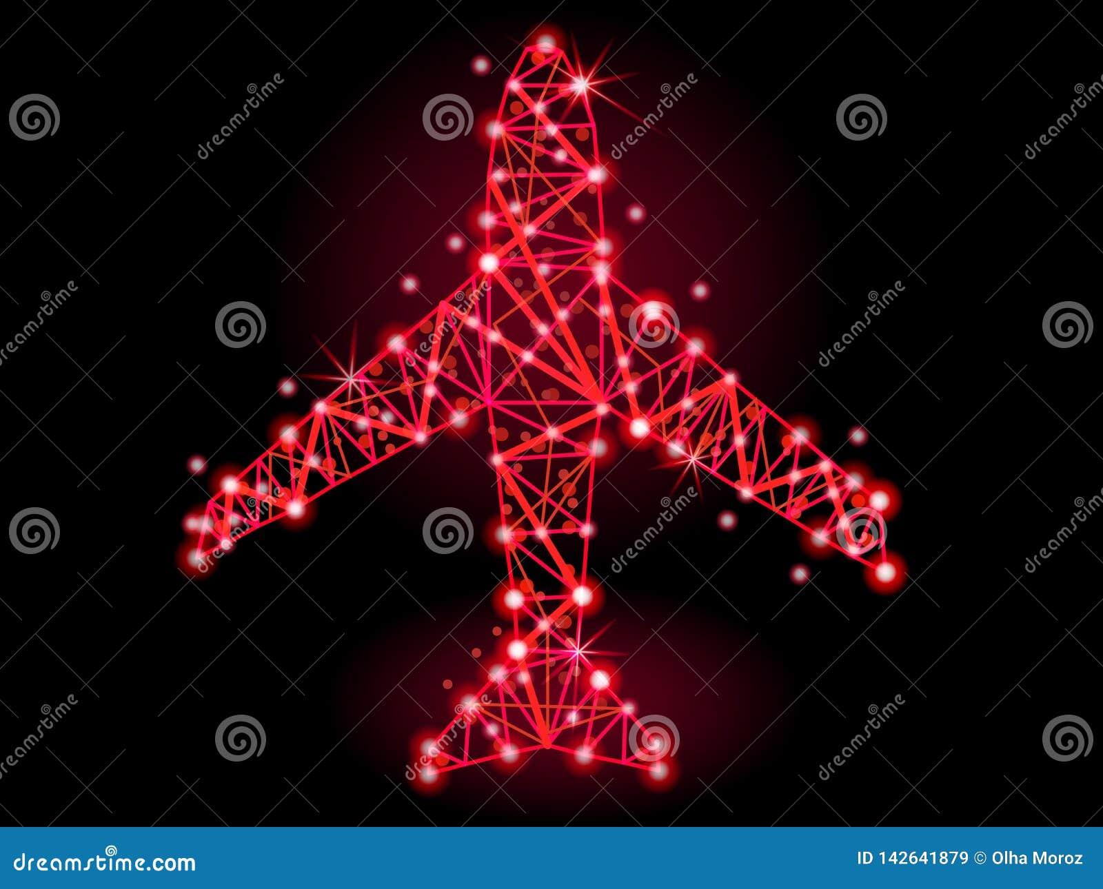 Również zwrócić corel ilustracji wektora Samolot poligonalne linie