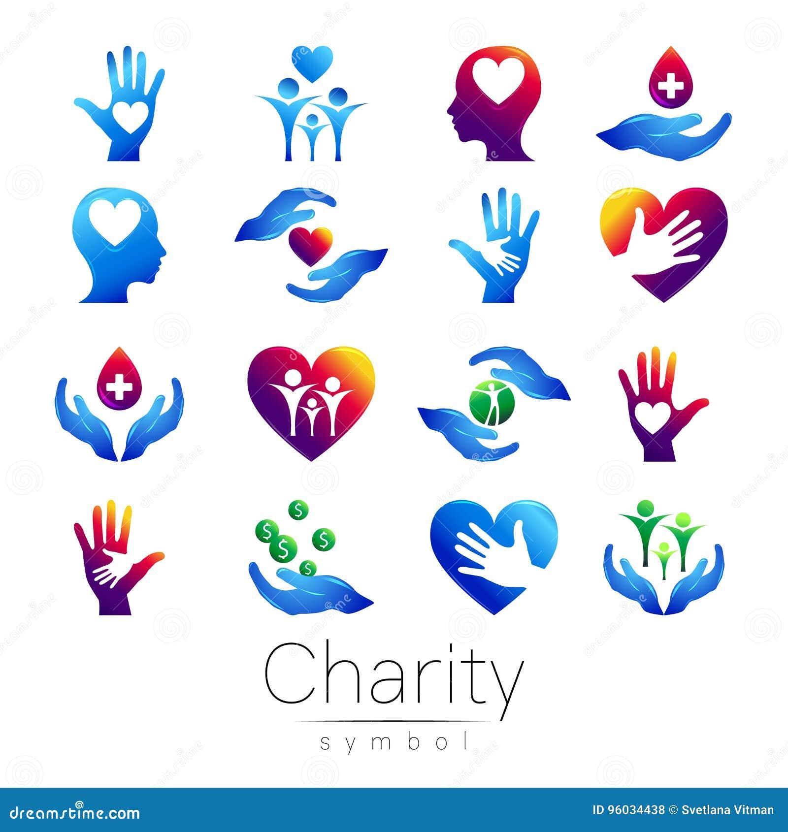 Również zwrócić corel ilustracji wektora USTAWIA symbol dobroczynność Szyldowa ręka odizolowywająca na białym tle Błękitna ikony