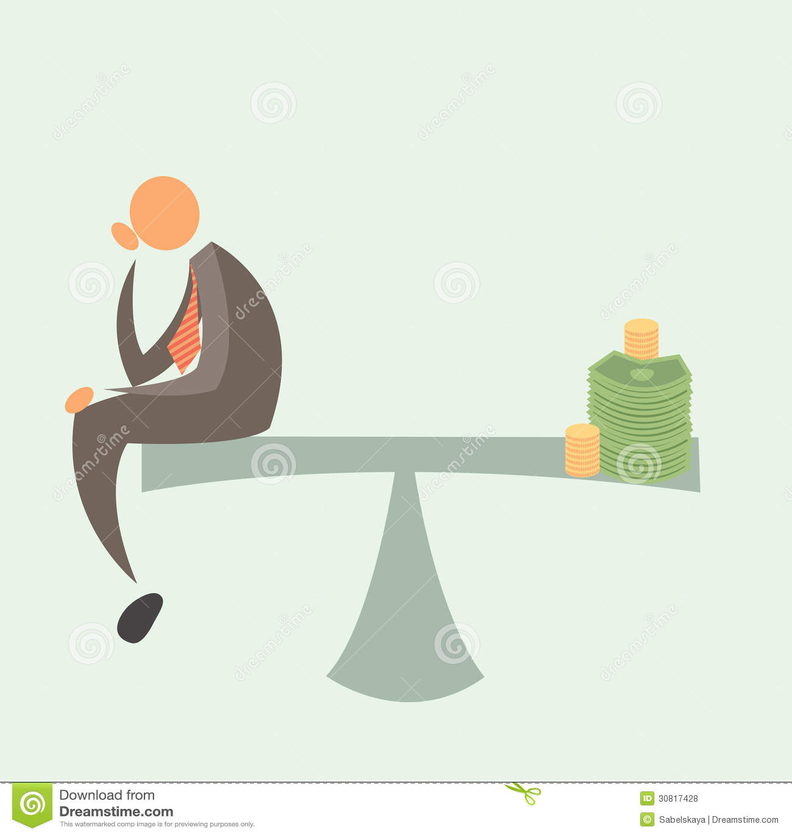Równy Obciążający: Biznesmen i pieniądze.