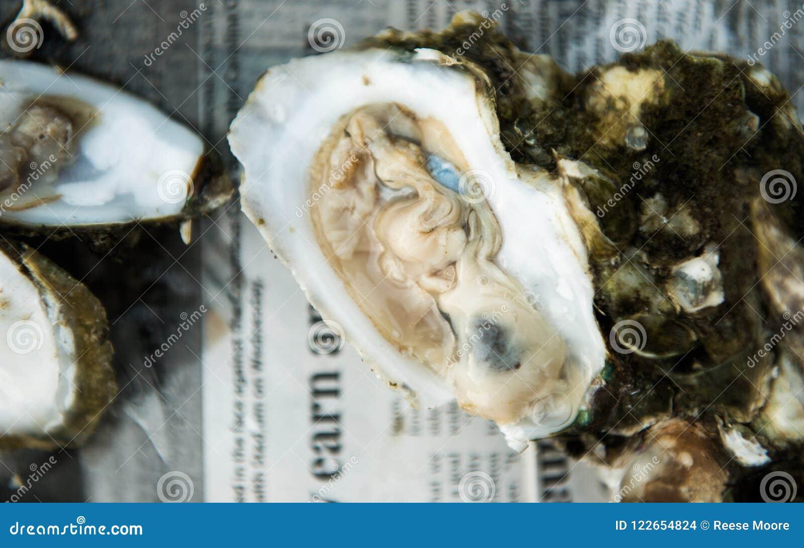 Rôti d huître avec les huîtres crues sur demi Shell